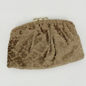 Vintage Tan Carpet Bag Clutch With Bow Closure